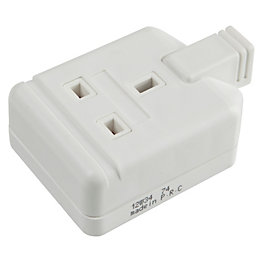 B&Q 13A 1-Gang White Unswitched Trailing Socket