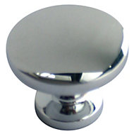 B&Q Chrome Effect Round Furniture Knob, Pack of 6