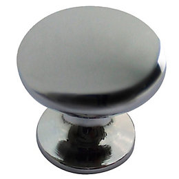 B&Q Chrome Effect Round Furniture Knob, Pack of