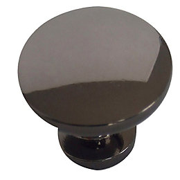 B&Q Nickel Effect Round Furniture Knob, Pack of