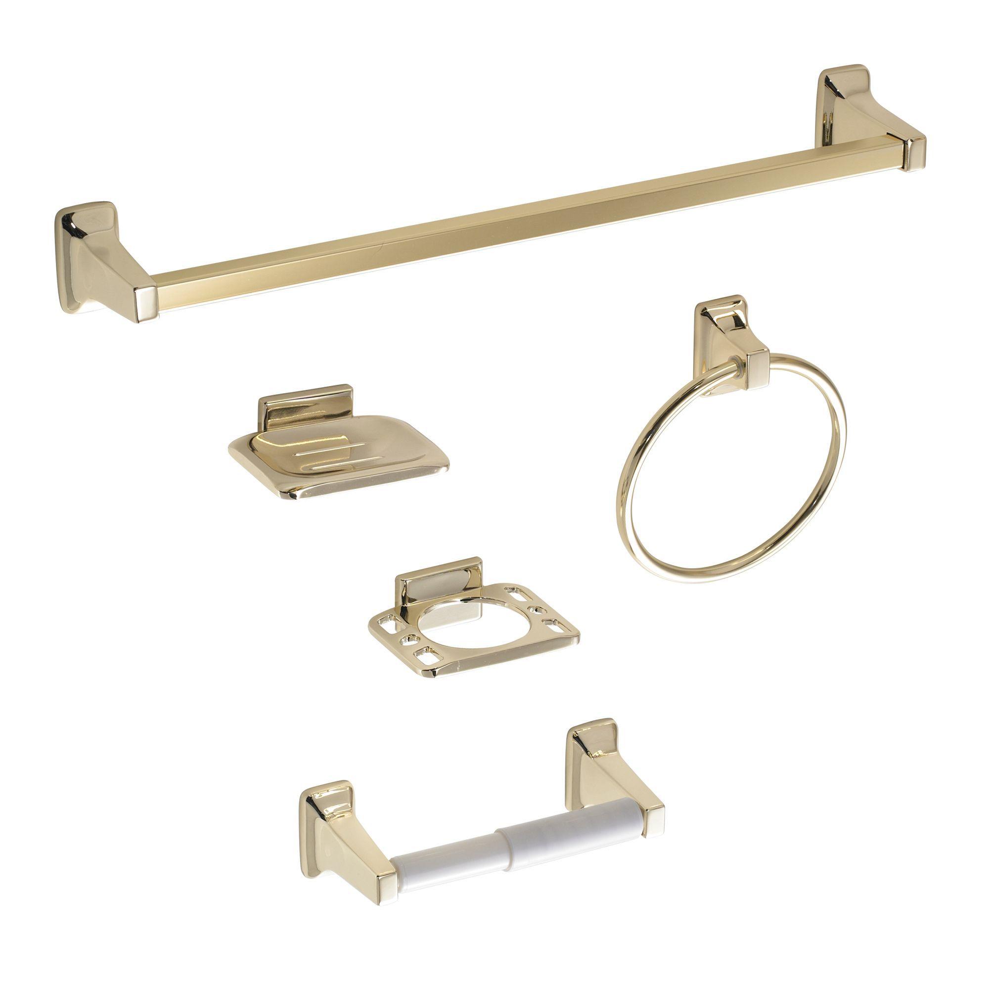 B Amp Q Amalfi Gold Effect Zinc Alloy Bathroom Accessory Set
