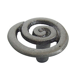 B&Q Pewter Effect Round Internal Knob Cabinet Knob