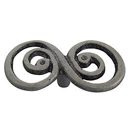 B&Q Pewter Effect Double Swirl Internal Knob Cabinet