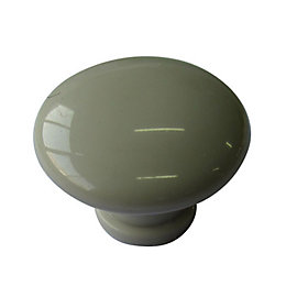 B&Q Cream Round Internal Knob Cabinet knob (D)40