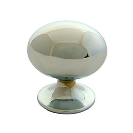 B&Q Chrome Effect Oval Internal Knob Furniture Knob