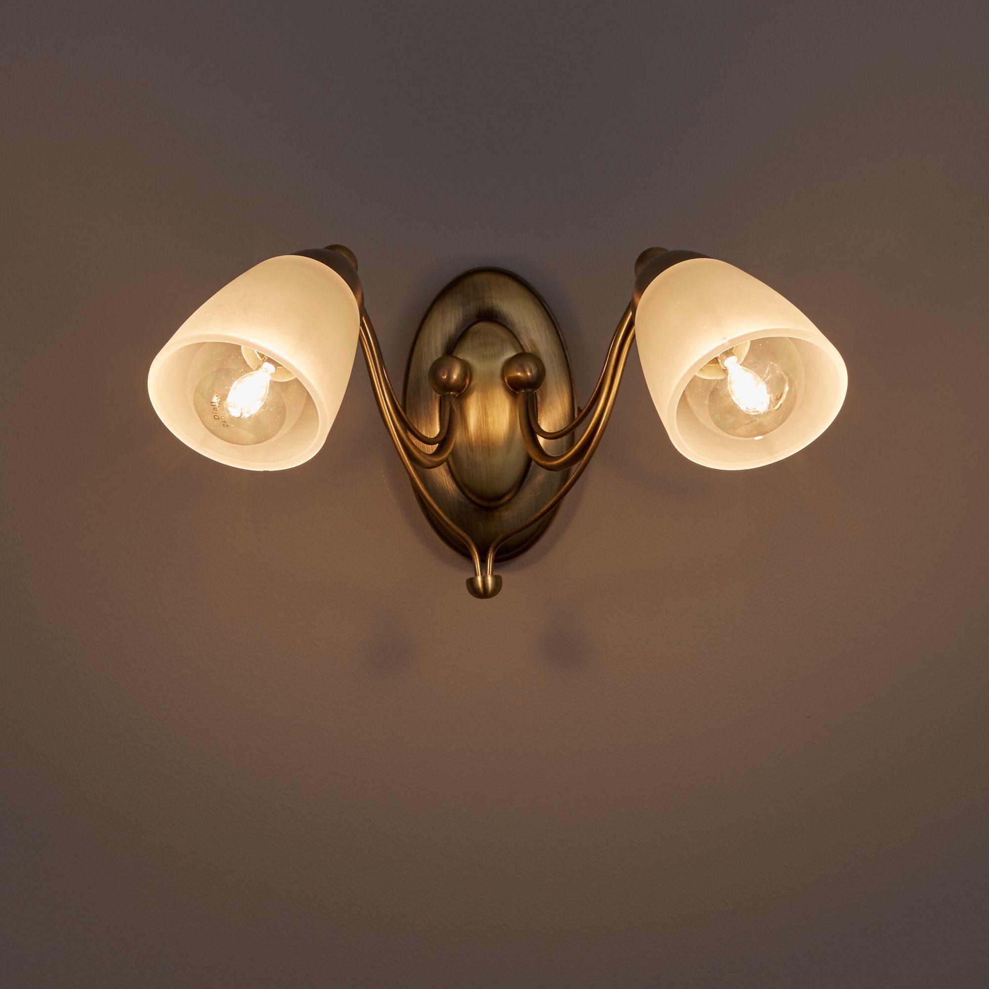 Venus Antique Brass Effect Double Wall Light