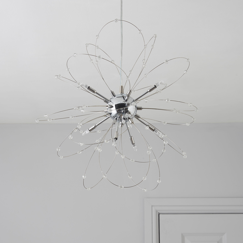 Hallie Beaded Silver Chrome Effect 8 Lamp Pendant Ceiling