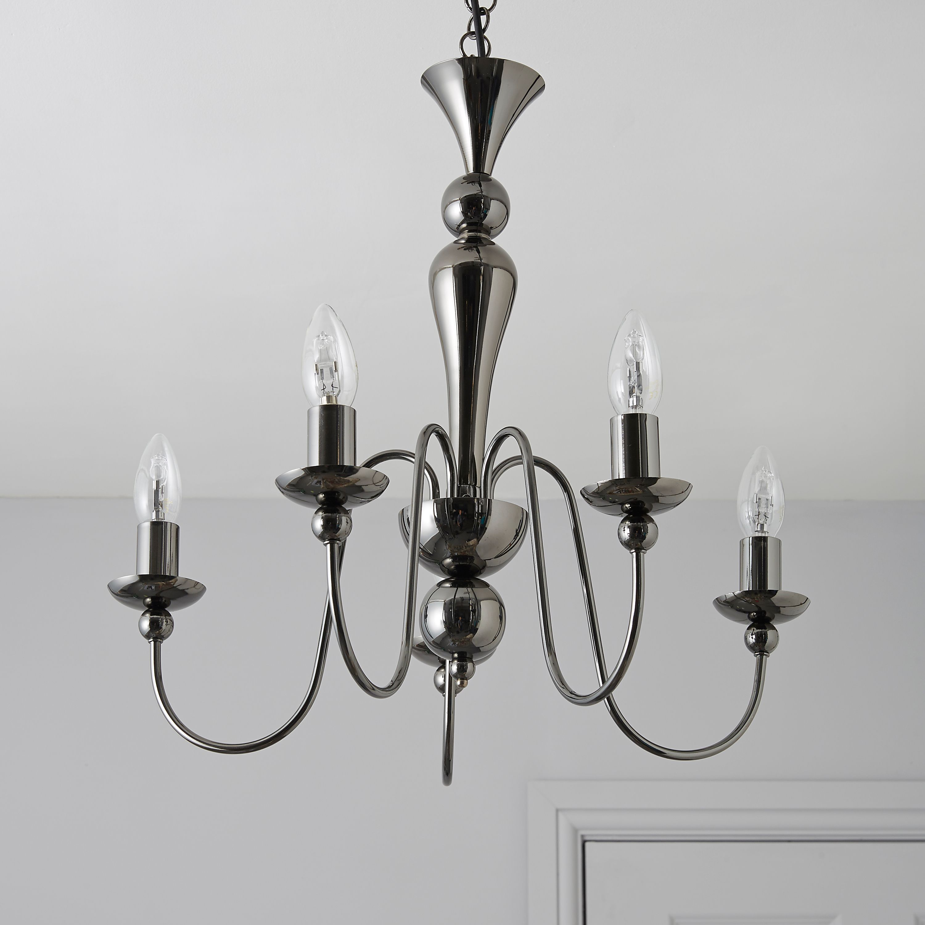 Megan black nickel effect 5 lamp pendant ceiling light megan black nickel effect 5 lamp pendant ceiling light departments diy at bq aloadofball Choice Image