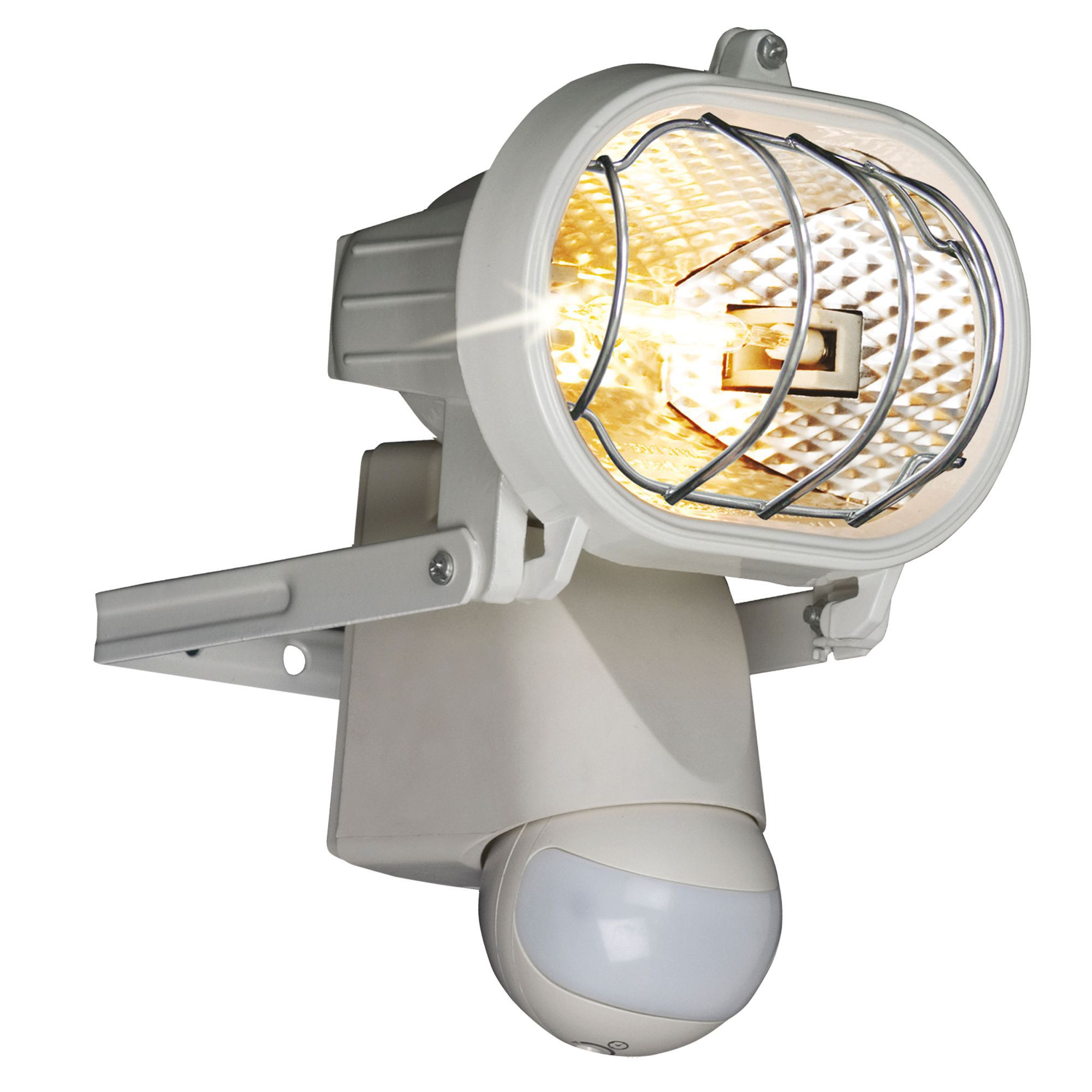 Outdoor Security Lights B Q: B&Q Polaris White 150W Mains Powered External PIR Security