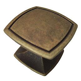B&Q Bronze Effect Square Furniture Knob, Pack of