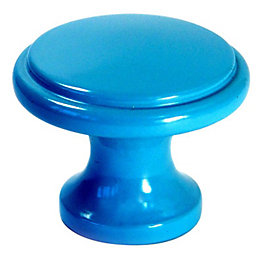 B&Q Blue Painted Round Furniture Knob, Pack of
