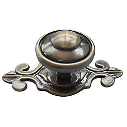 B&Q Brass Effect Round Furniture Knob with Backplate