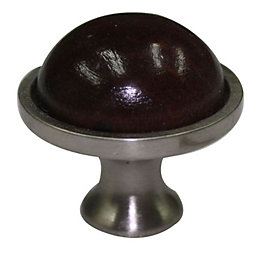 B&Q Beech Walnut Effect Round Cabinet Knob (L)34mm,