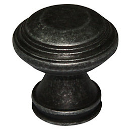 B&Q Pewter effect Round Furniture knob, Pack of