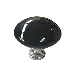 B&Q Gloss Chrome Effect Classic Knob Furniture Knob