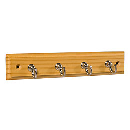 B&Q Ash & satin nickel effect Hook rail