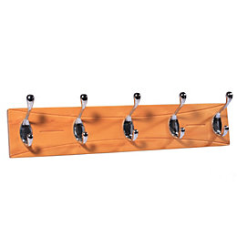 B&Q Beech & Chrome Effect Hook Rail (H)15mm