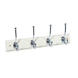 B&Q Cream & silver Hook rail (H)15mm (W)70mm