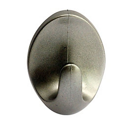 B&Q Silver Effect ABS Robe Hook, Pack of