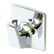 B&Q Chrome effect ABS Robe hook, Pack of 2