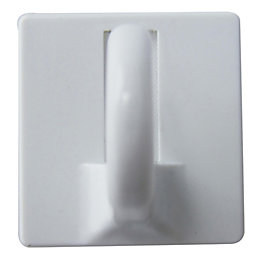 B&Q White ABS Cup Hook, Pack of 2