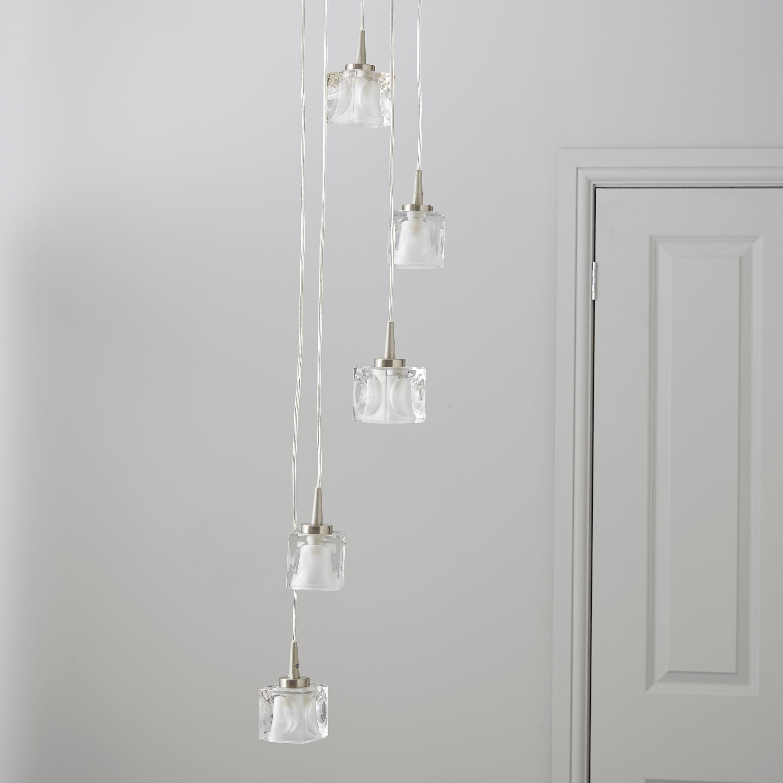 Atrium Ice Cube Brushed Chrome Effect 5 Lamp Pendant