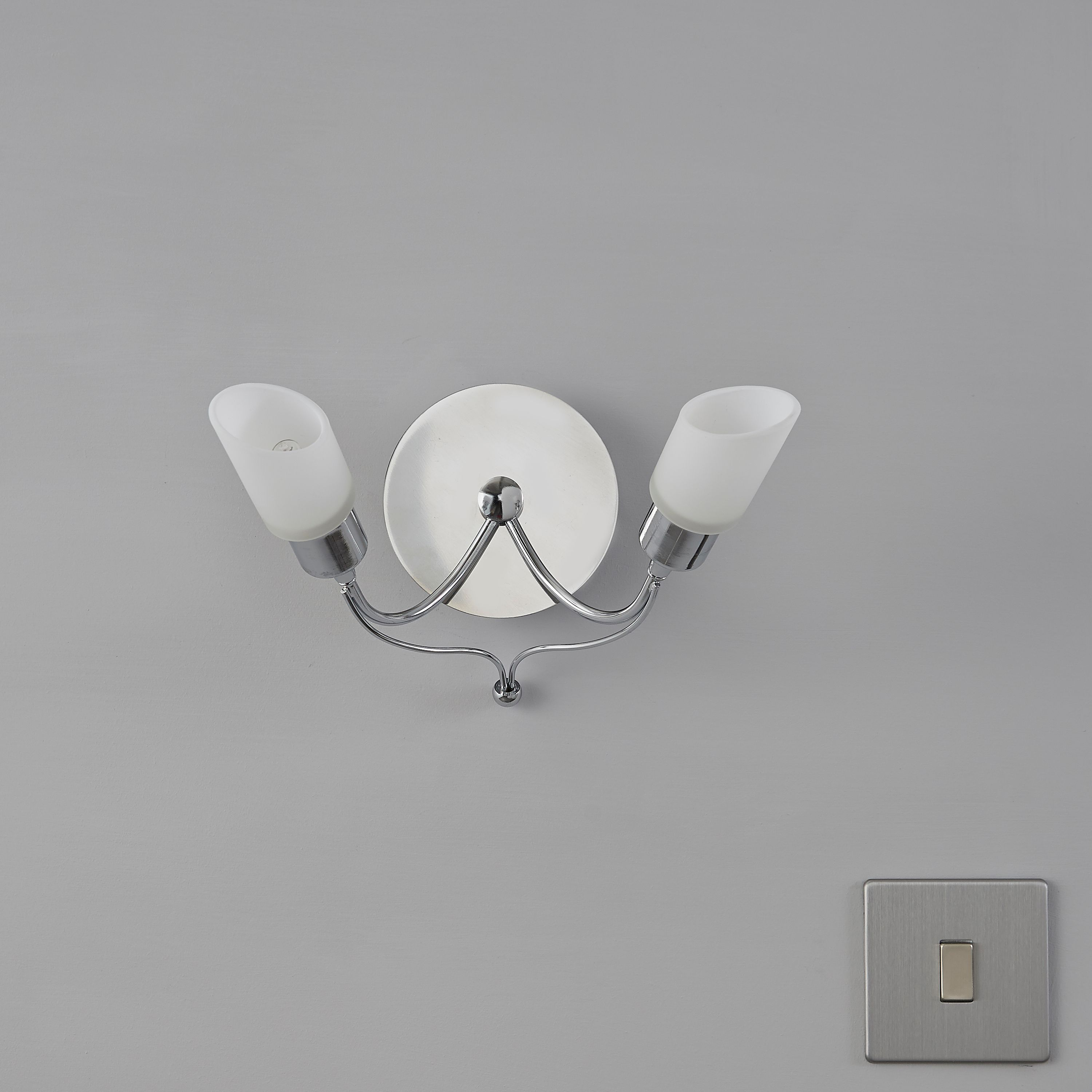 Karp Chrome Effect Double Wall Light | Departments | DIY at B&Q