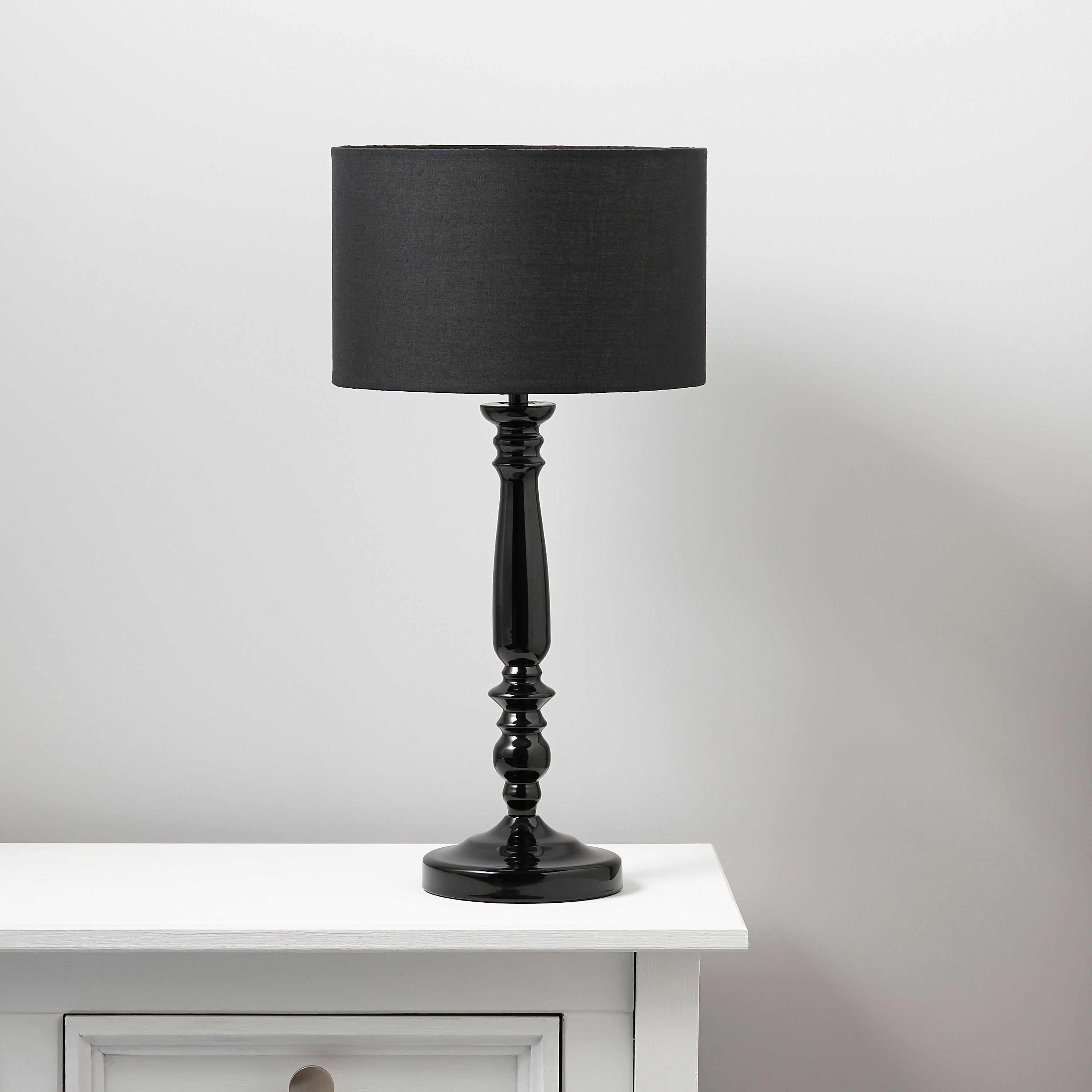 Angelina black table lamp departments diy at bq aloadofball Image collections