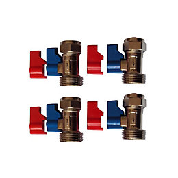 """Plumbsure Brass Tap Isolation Valve (Thread)3/4"""", Pack of"""