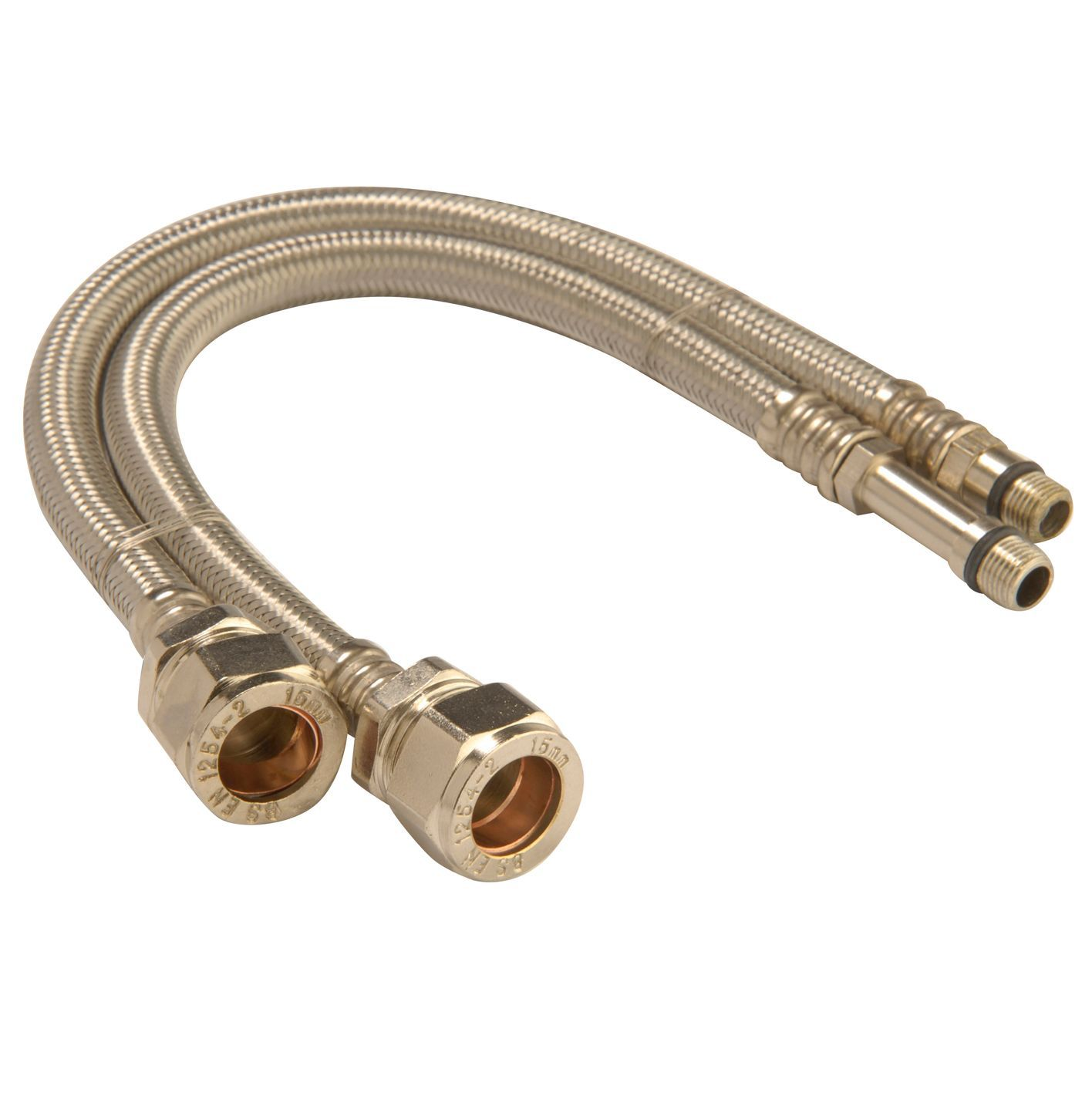 Monobloc flexible tap connector, (Dia)15mm (Dia)10mm (L)300mm, Pack ...