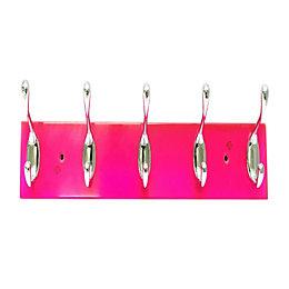 B&Q Pink & Silver Hook Rail (H)72mm (W)12mm