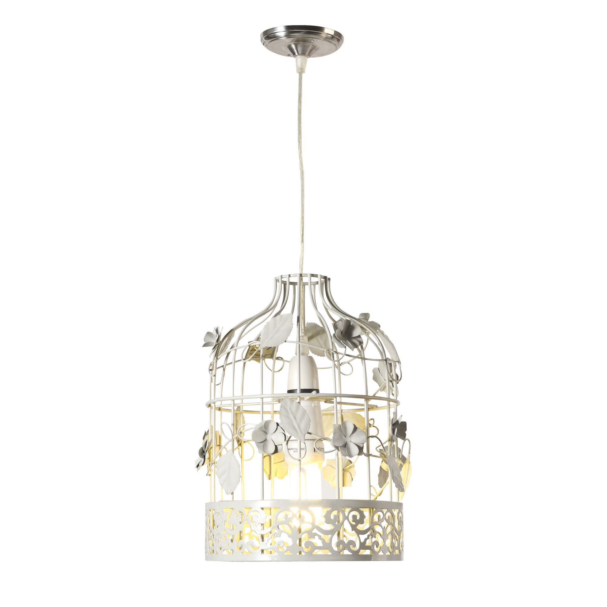 Luella Cream Birdcage with Flowers Light Shade (D)195mm | Departments | DIY  at B&Q.