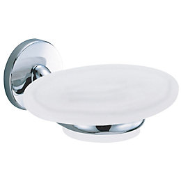 B&Q Curve White Chrome Effect Wall Mounted Soap