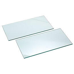 Clear Glass Cupboard Shelf (L)466mm (D)247mm, Pack of