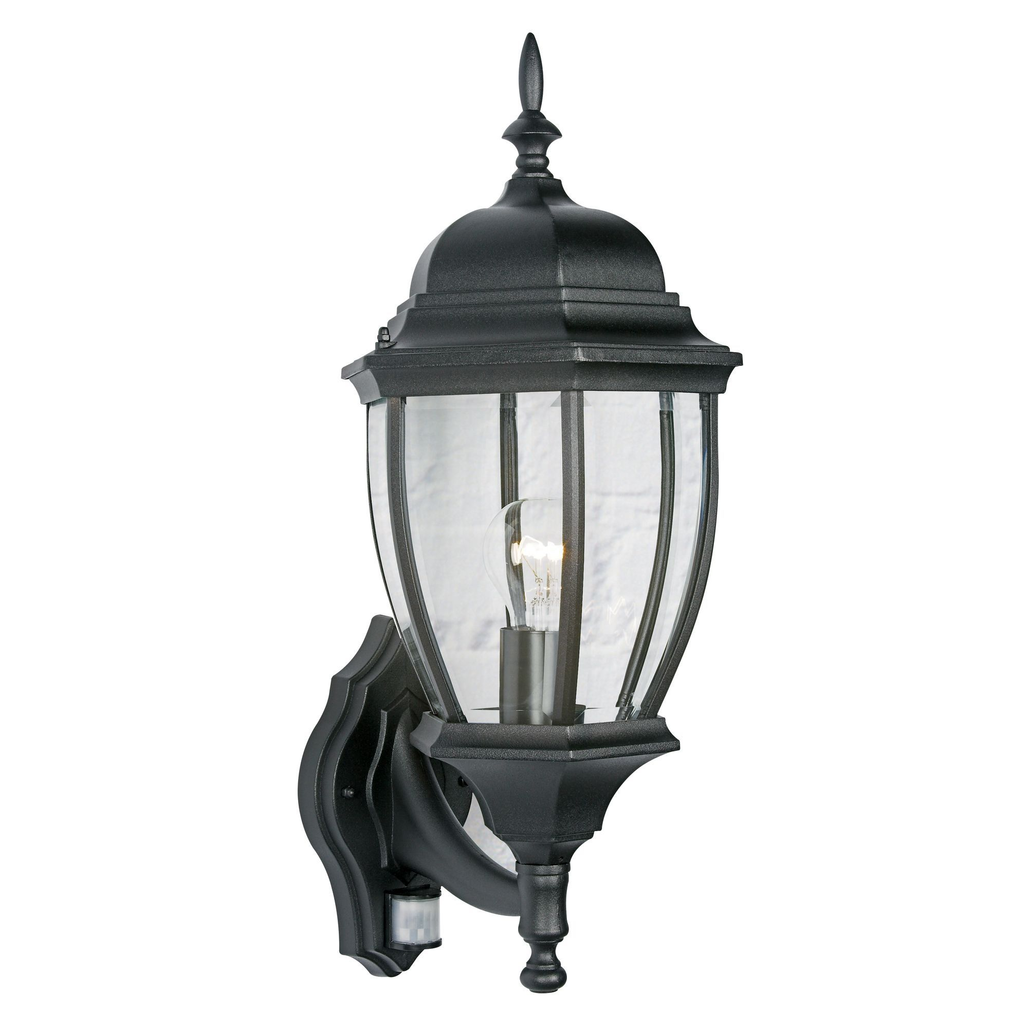 Lanark Black 60w Mains Powered External Pir Lantern Departments Diy