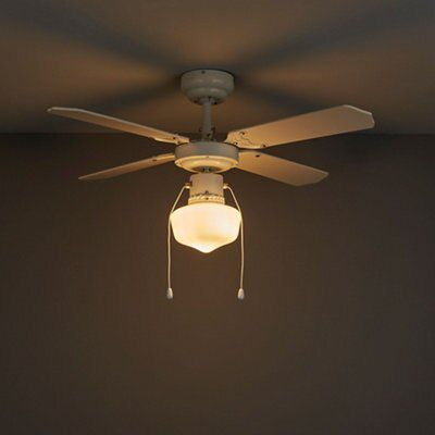 Houston White Ceiling Fan Light Departments Diy At B Q