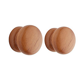 B&Q Beech effect Round Cabinet knob, Pack of