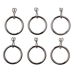 Colours Chrome Effect Metal Curtain Ring (Dia)16mm, Pack