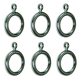 Colours Chrome Effect Plastic Curtain Ring (Dia)19mm, Pack