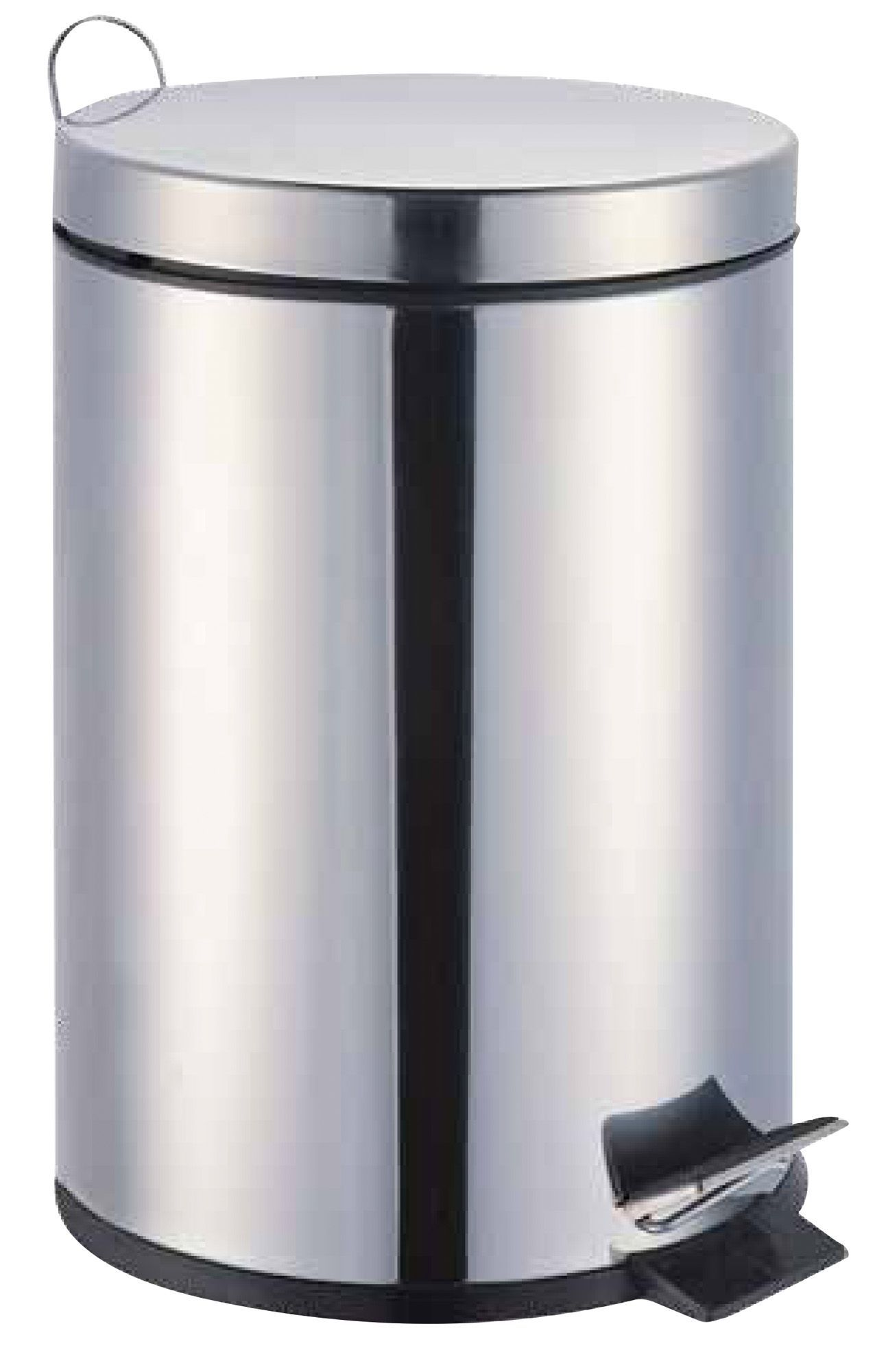 B q baya chrome effect steel circular pedal bin 3l for B q bathroom accessories
