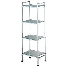Cooke & Lewis Peak Chrome Effect Freestanding Shelving