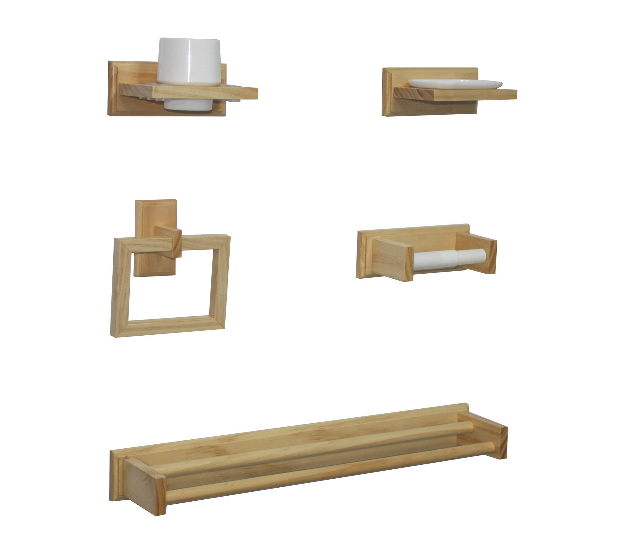Cooke lewis boundary solid pine bathroom accessory set for B q bathroom accessories