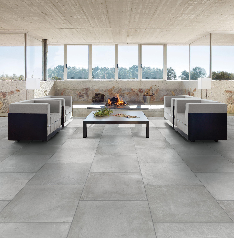 Cementina Grey Stone effect Porcelain Floor tile, Pack