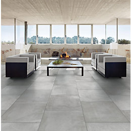 Cementina Grey Stone effect Porcelain Floor tile, Pack