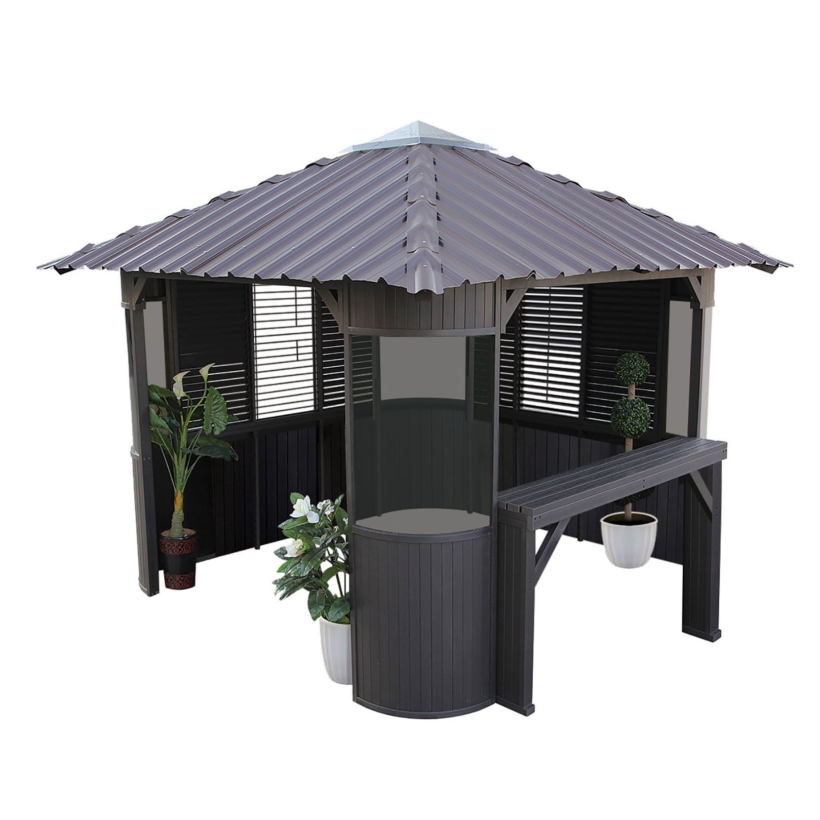 Canadian Spa Frazer Freestanding Brown Gazebo With Assembly Service Departments Diy At B Amp Q