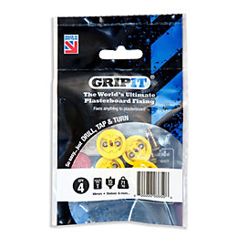 GripIt Plasterboard Fixings (Dia)15mm, Pack of 4