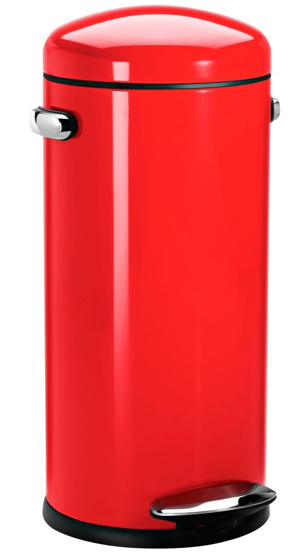 Simplehuman Retro Red Stainless Steel Circular Pedal Bin