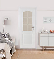 2 panel 6 Lite Etched Glazed Arched White Internal Door, (H)1981mm (W)762mm (T)35mm