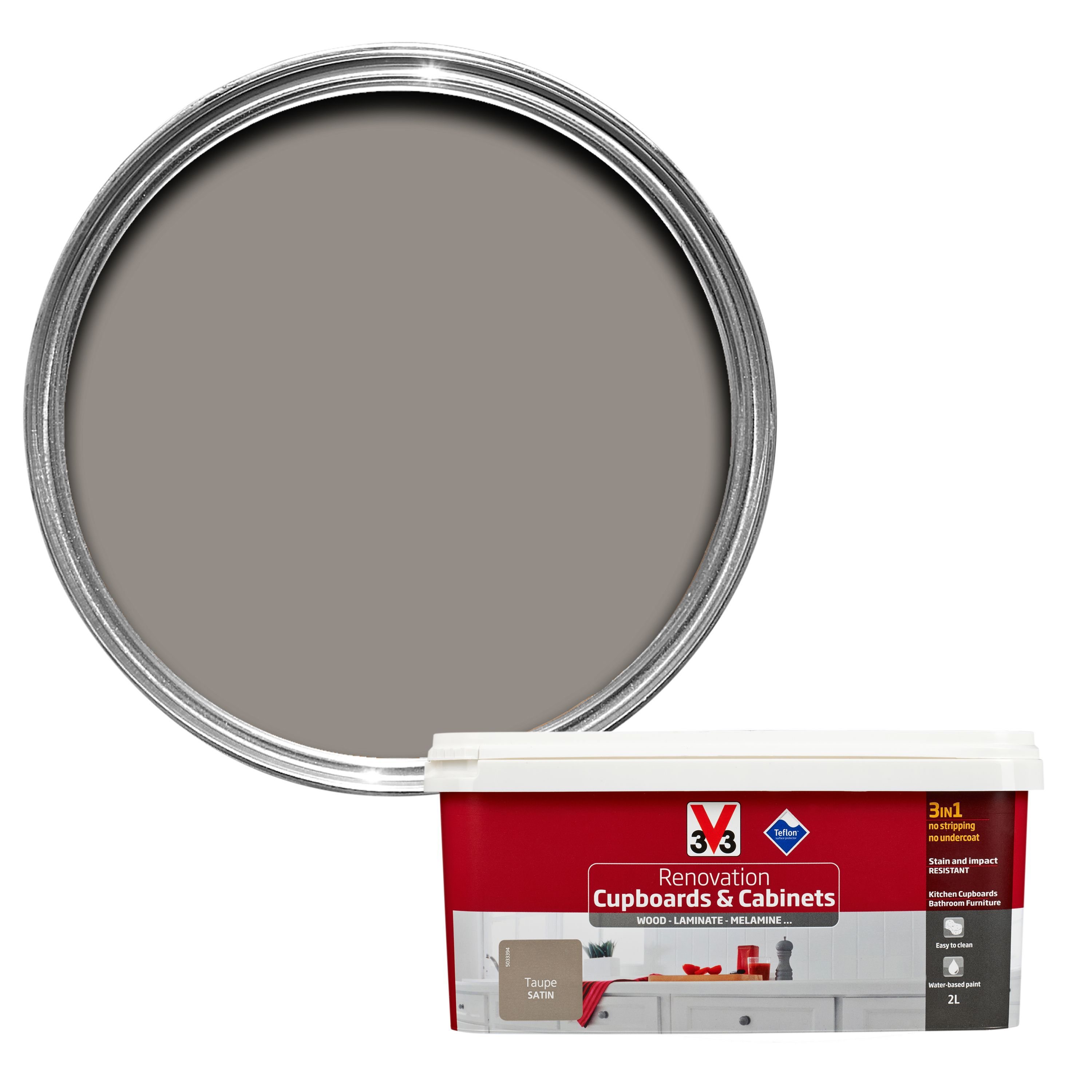V33 Renovation Taupe Smooth Satin Kitchen Cupboard & Cabinet Paint 2000 Ml