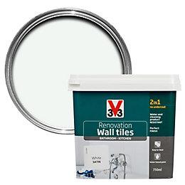 V33 Renovation White Satin Wall Tile Paint0.75L